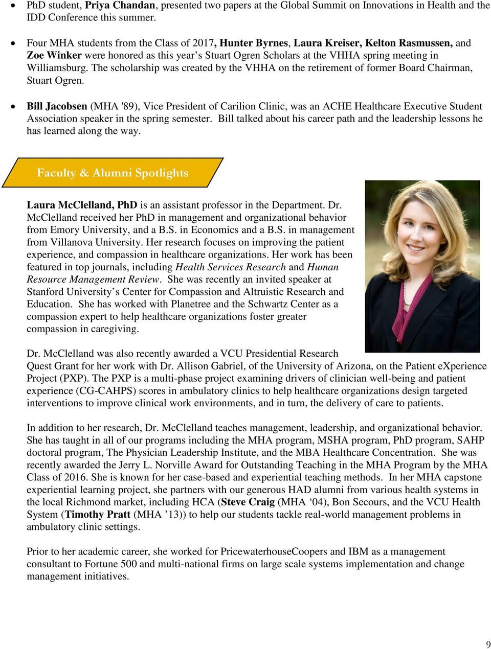Newsletter of the Department of Health Administration August PDF