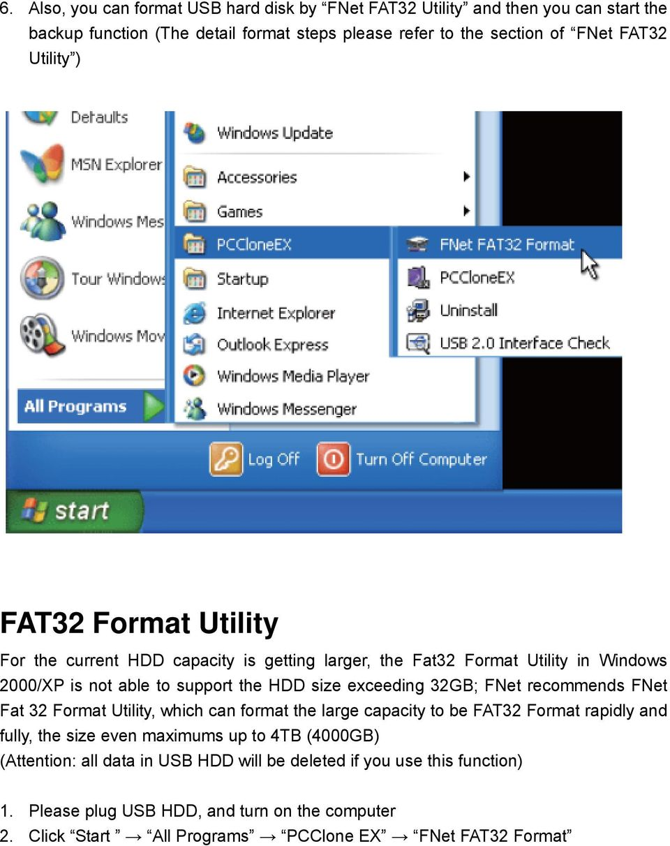 32GB; FNet recommends FNet Fat 32 Format Utility, which can format the large capacity to be FAT32 Format rapidly and fully, the size even maximums up to 4TB (4000GB)