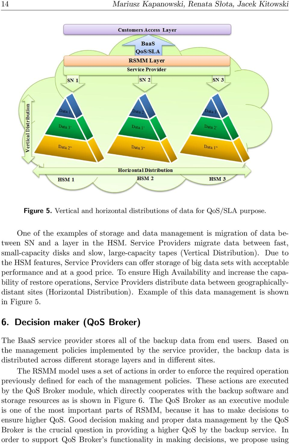 Service Providers migrate data between fast, small-capacity disks and slow, large-capacity tapes (Vertical Distribution).