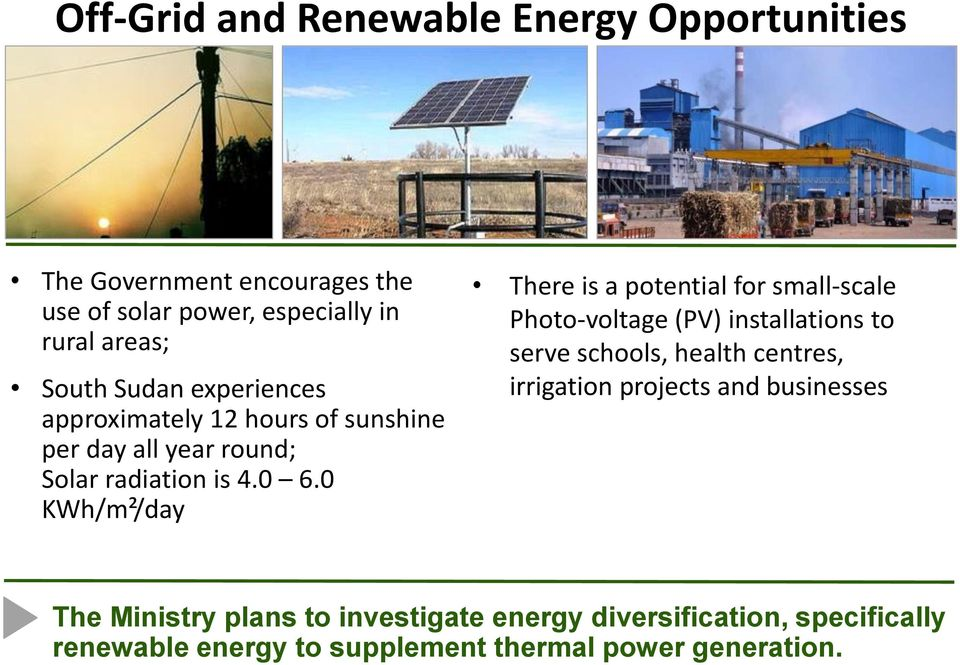 0 KWh/m²/day There is a potential for small-scale Photo-voltage (PV) installations to serve schools, health centres,