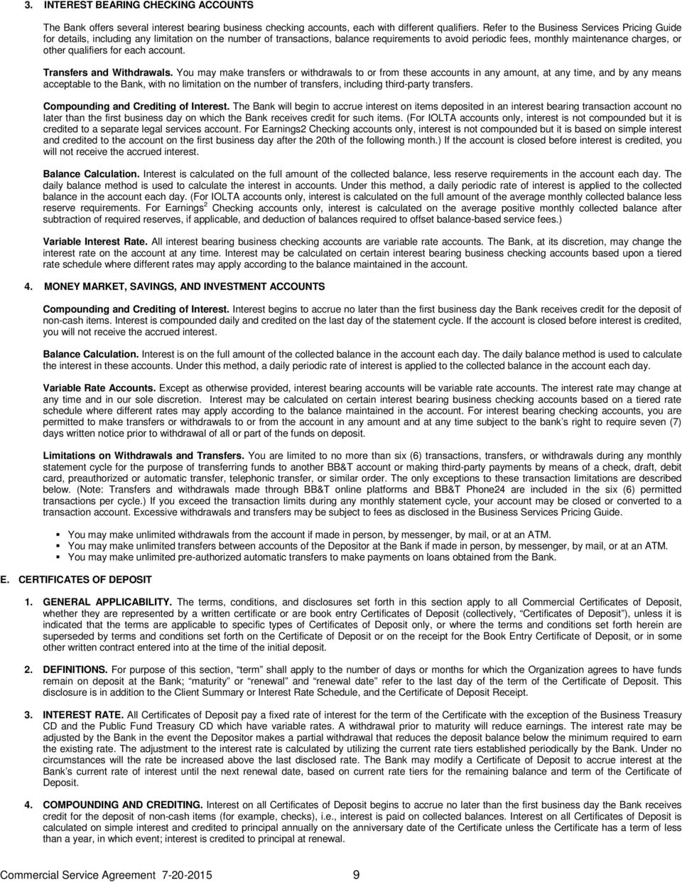 Commercial Bank Services Agreement Pdf