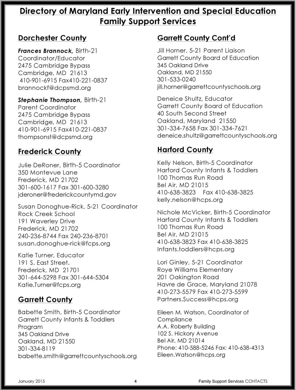 Directory of Maryland Early Intervention and Special