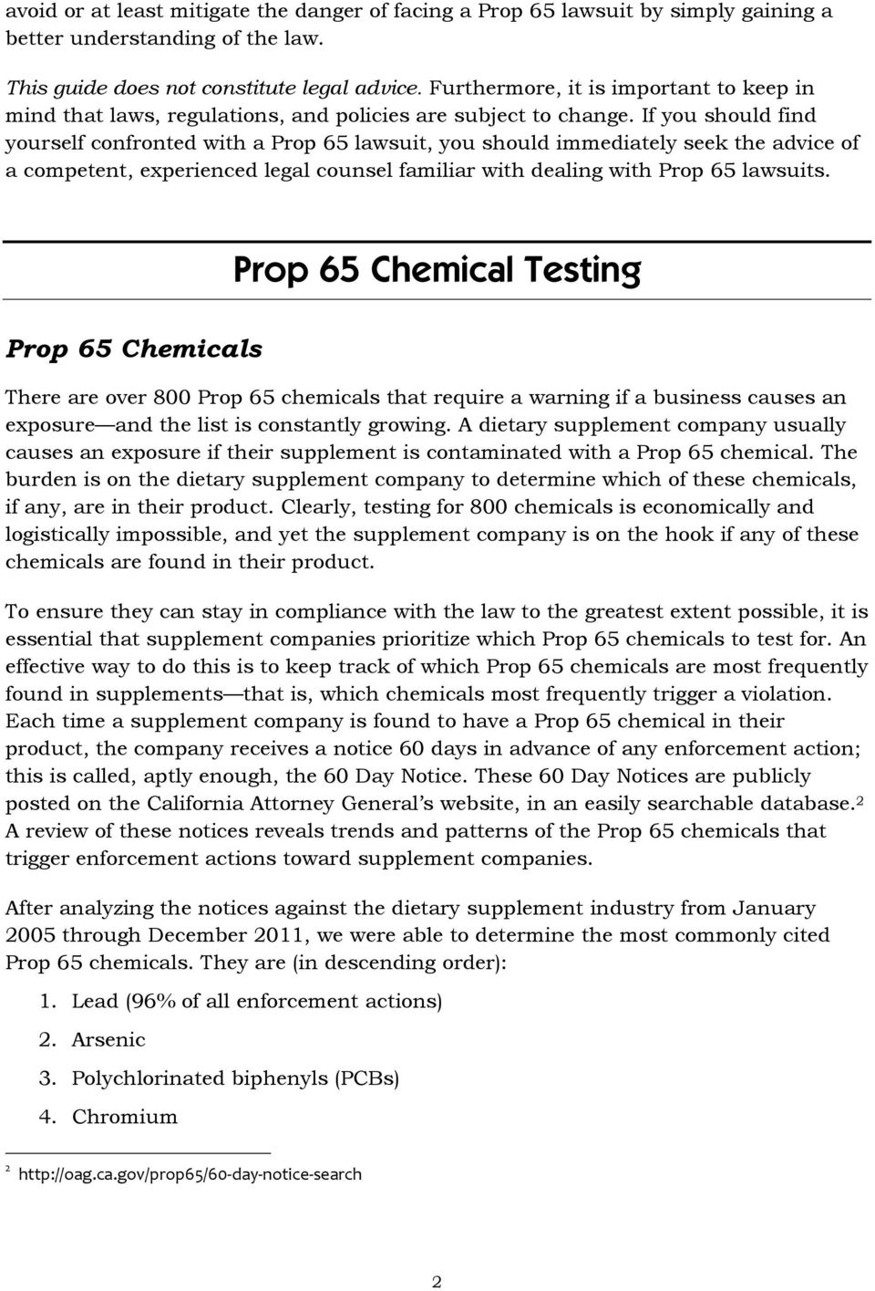 a guide to california s proposition 65 for the nutritional