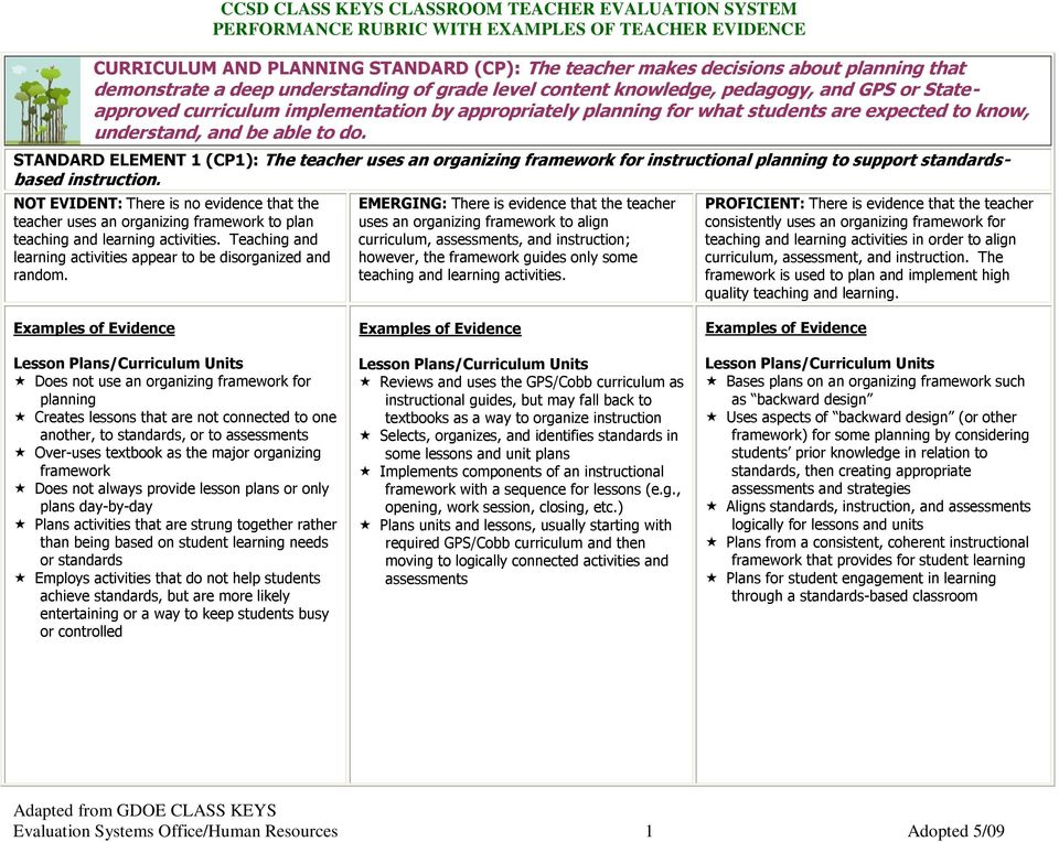 STANDARD ELEMENT 1 (CP1): The teacher uses an organizing framework for instructional planning to support standardsbased instruction.