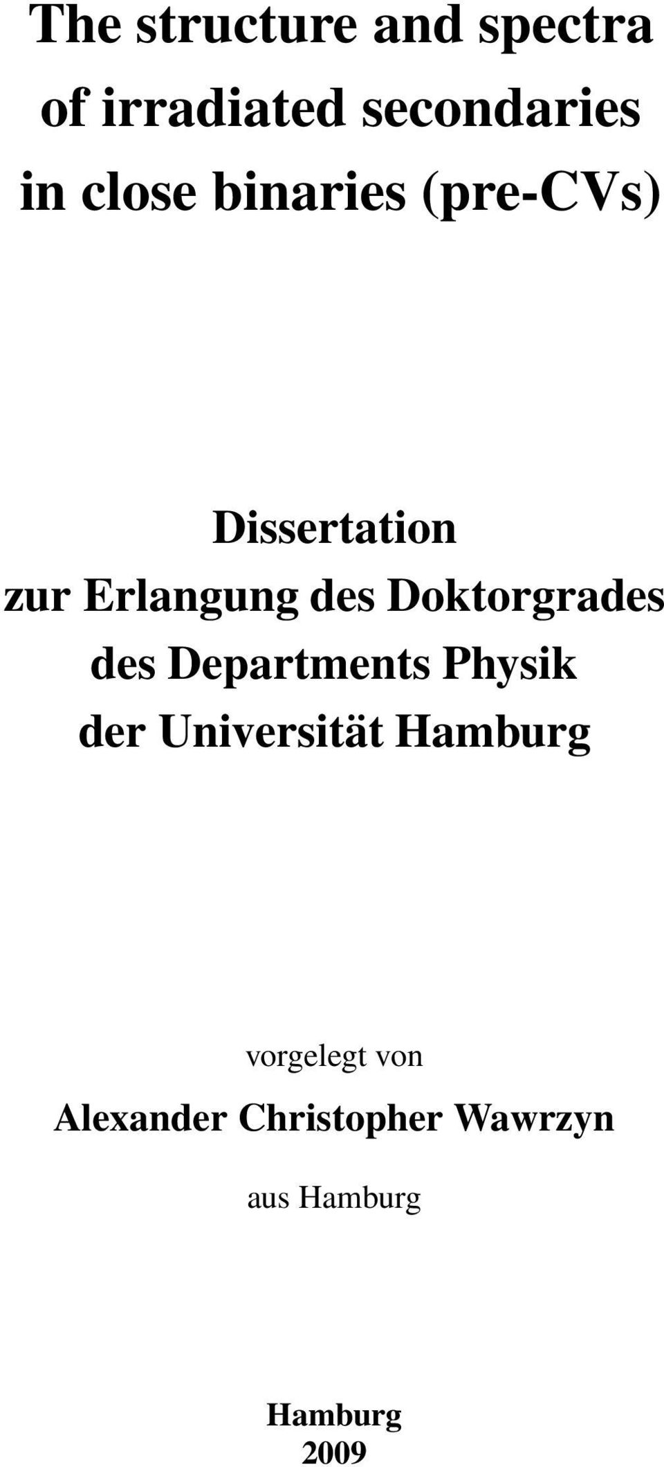 Doktorgrades des Departments Physik der Universität Hamburg
