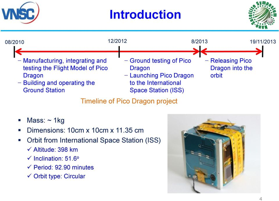 Station (ISS) Releasing Pico Dragon into the orbit Timeline of Pico Dragon project Mass: ~ 1kg Dimensions: 10cm x 10cm x 11.