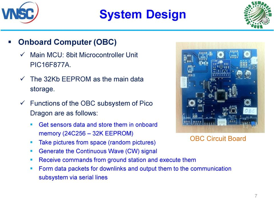 EEPROM) OBC Circuit Board Take pictures from space (random pictures) Generate the Continuous Wave (CW) signal Receive commands