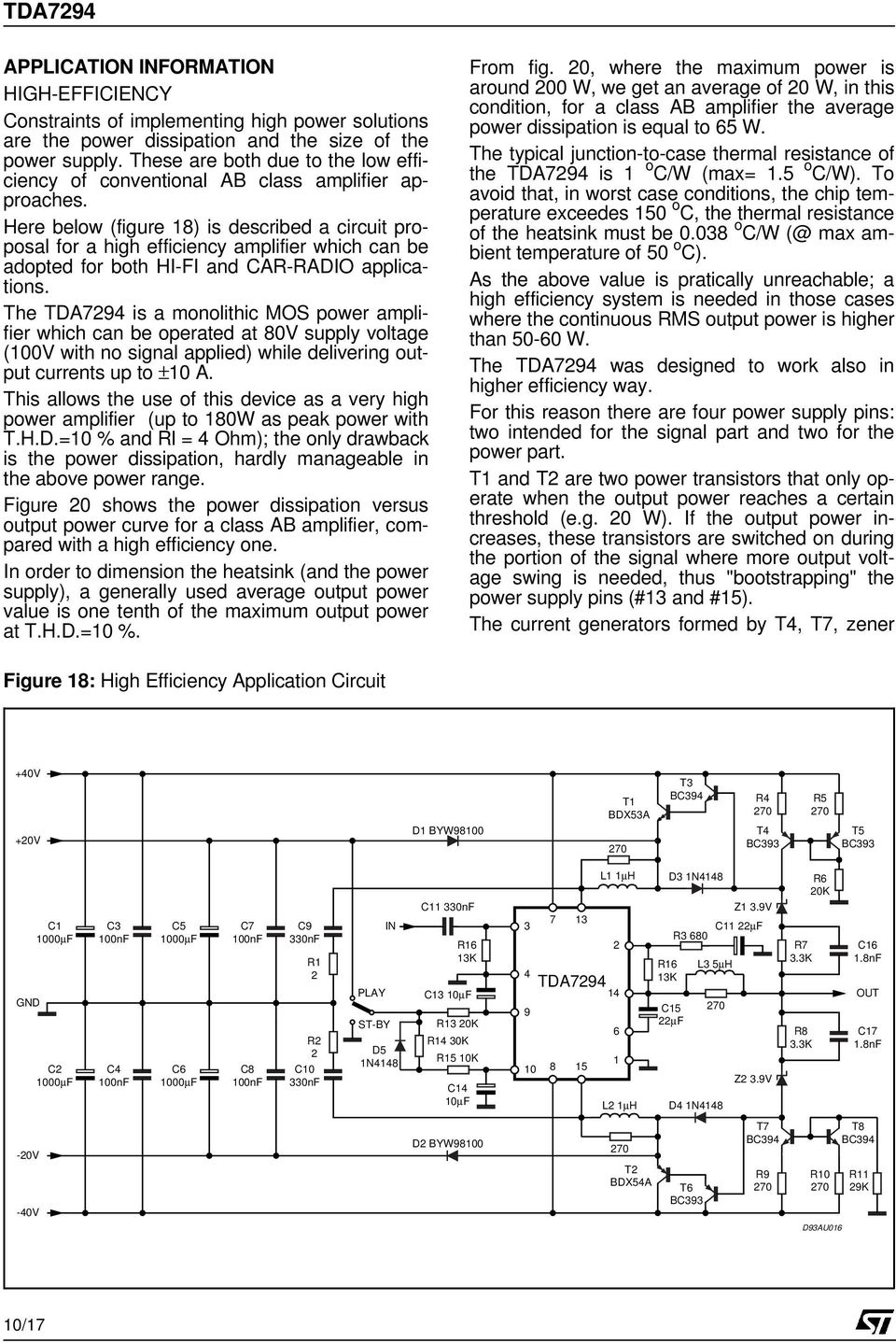 100v 100w Dmos Audio Amplifier With Mute St By Thermal Shutdown How To Build Your Own 10watt Power Using An Ic Tda 2003 Here Below Figure 18 Is Described A Circuit Proposal For High Efficiency