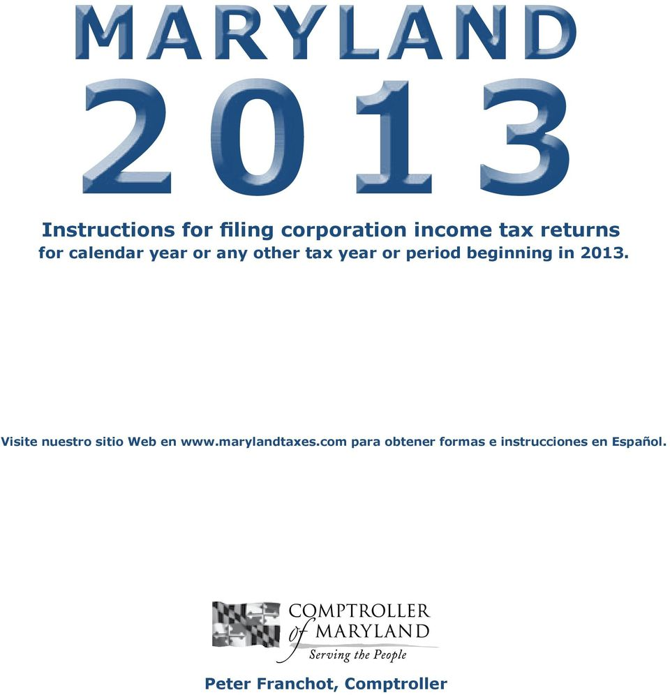 Fillable online 2013 revised final 10. 22. 13 maryland tax forms.