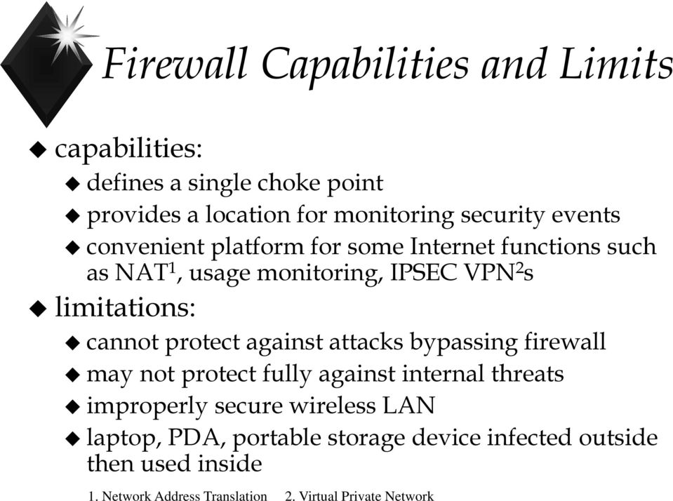 protect against attacks bypassing firewall may not protect fully against internal threats improperly secure wireless LAN