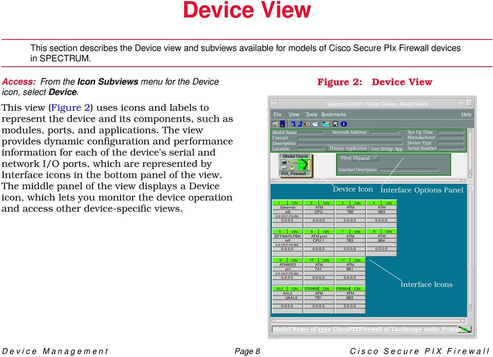 The view provides dynamic configuration and performance information for each of the device s serial and network I/O ports, which are represented by Interface icons in the bottom panel of the view.