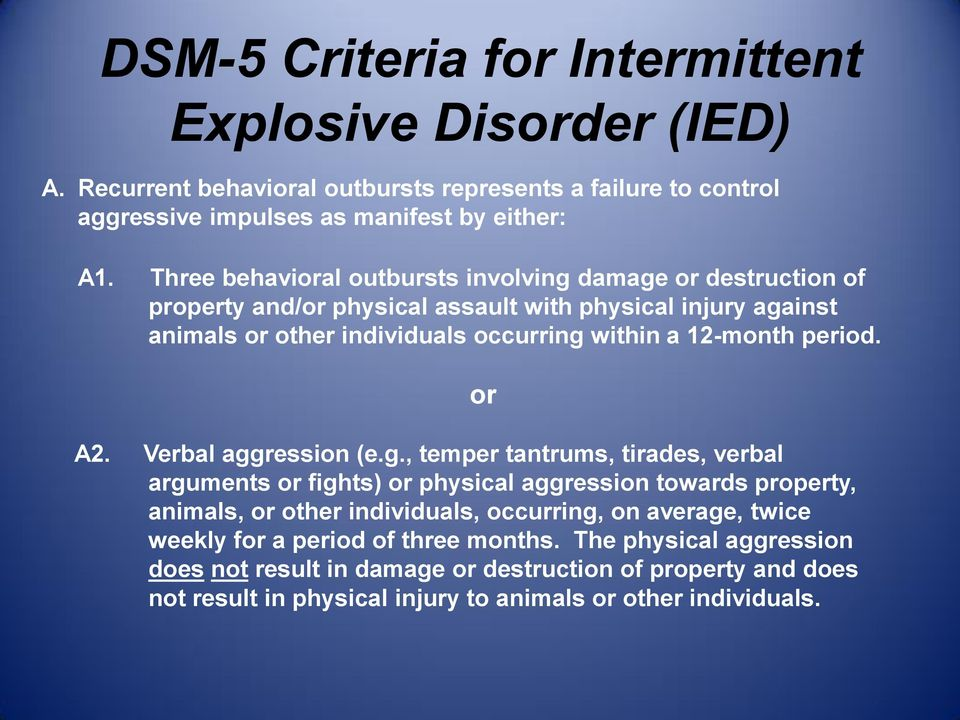 DSM-5 Intermittent Explosive Disorder and Personality