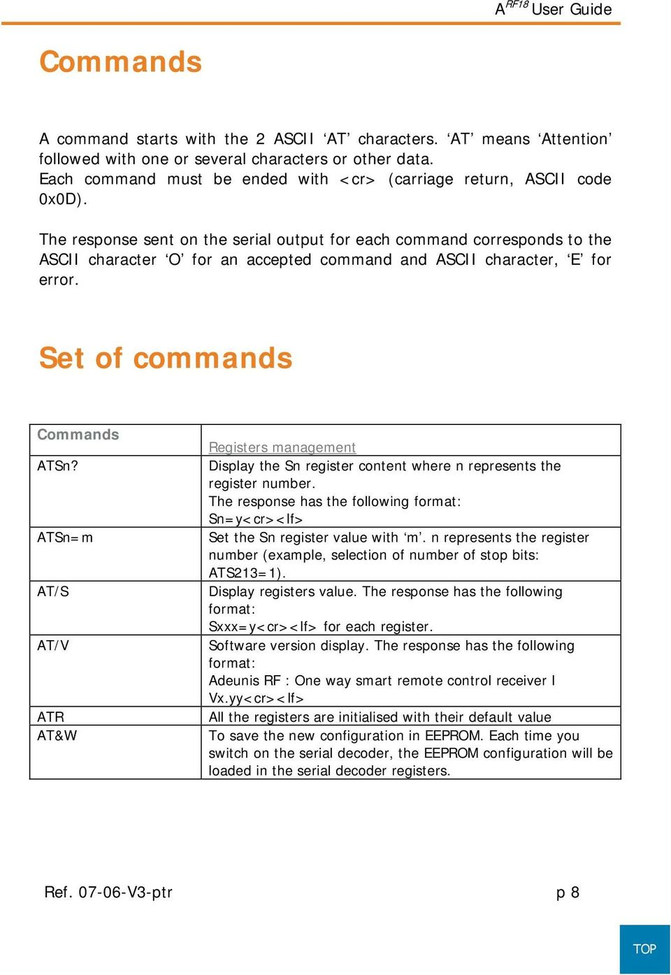 The response sent on the serial output for each command corresponds to the ASCII character O for an accepted command and ASCII character, E for error. Set of commands Commands ATSn?