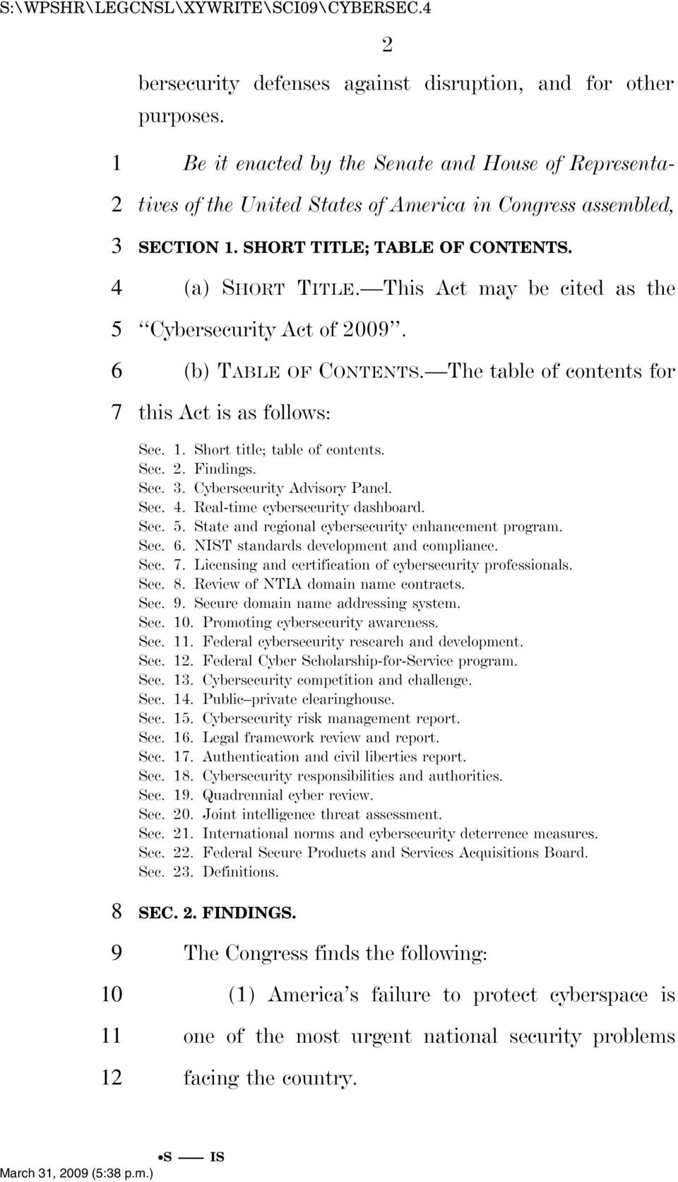 This Act may be cited as the Cybersecurity Act of 00. (b) TABLE OF CONTENTS. The table of contents for this Act is as follows: Sec.. Short title; table of contents. Sec.. Findings. Sec.. Cybersecurity Advisory Panel.