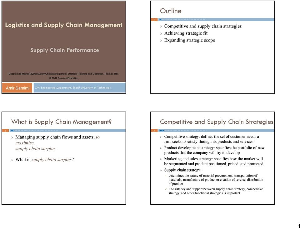 Outline  Logistics and Supply Chain Management  Competitive