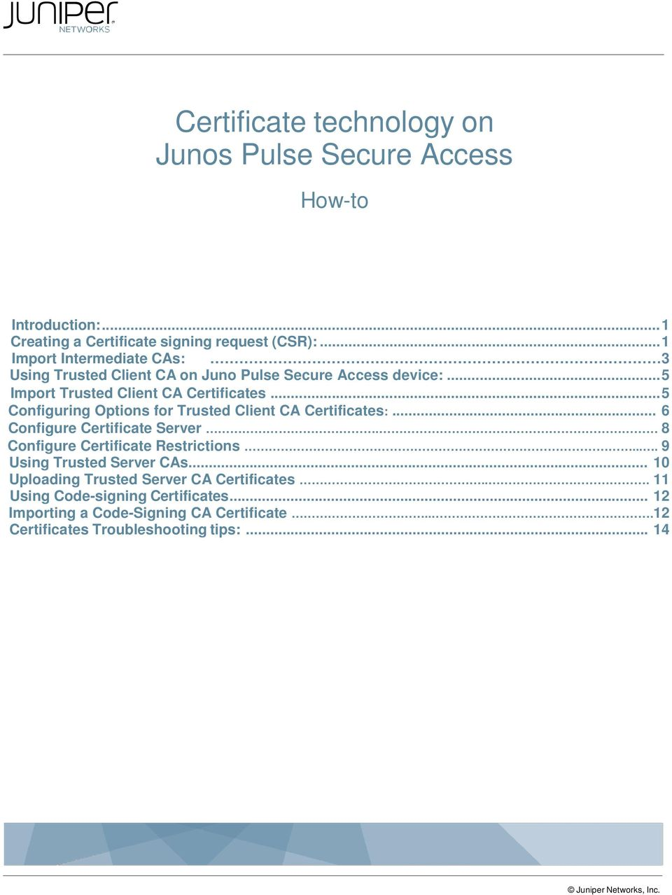 Certificate technology on Junos Pulse Secure Access - PDF