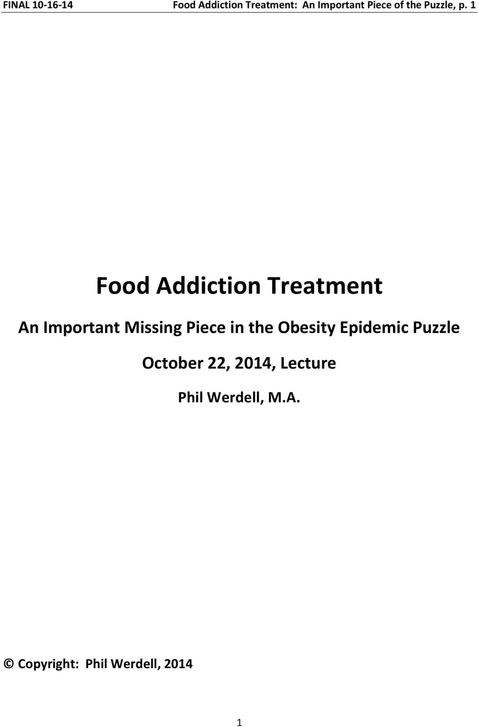 1 Food Addiction Treatment An Important Missing Piece in