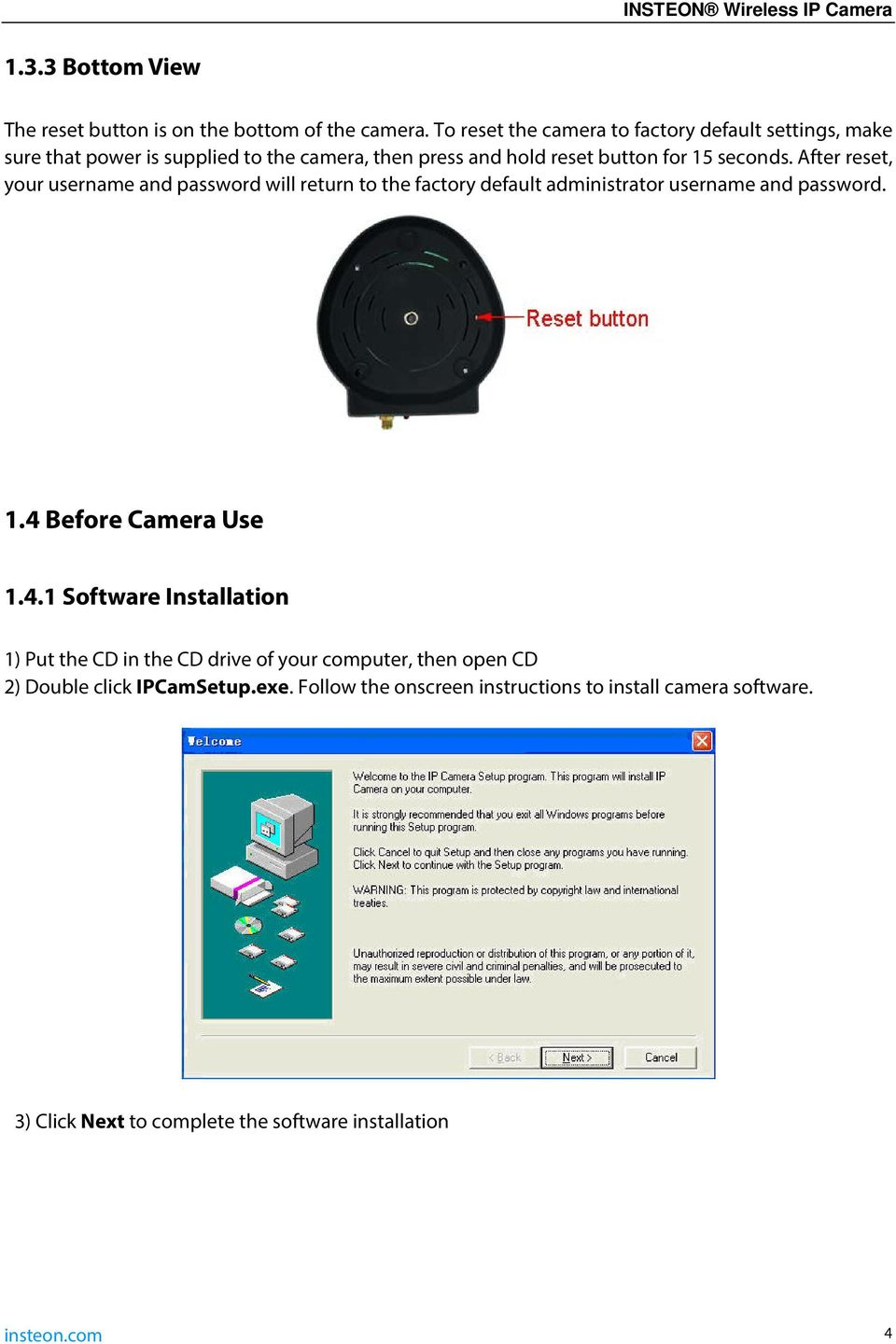 Insteon Wireless Ip Camera Pdf 4 Way Wiring Diagram Installation Insteoncom After Reset Your Username And Password Will Return To The Factory Default Administrator