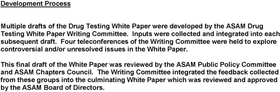 Four teleconferences of the Writing Committee were held to explore controversial and/or unresolved issues in the White Paper.
