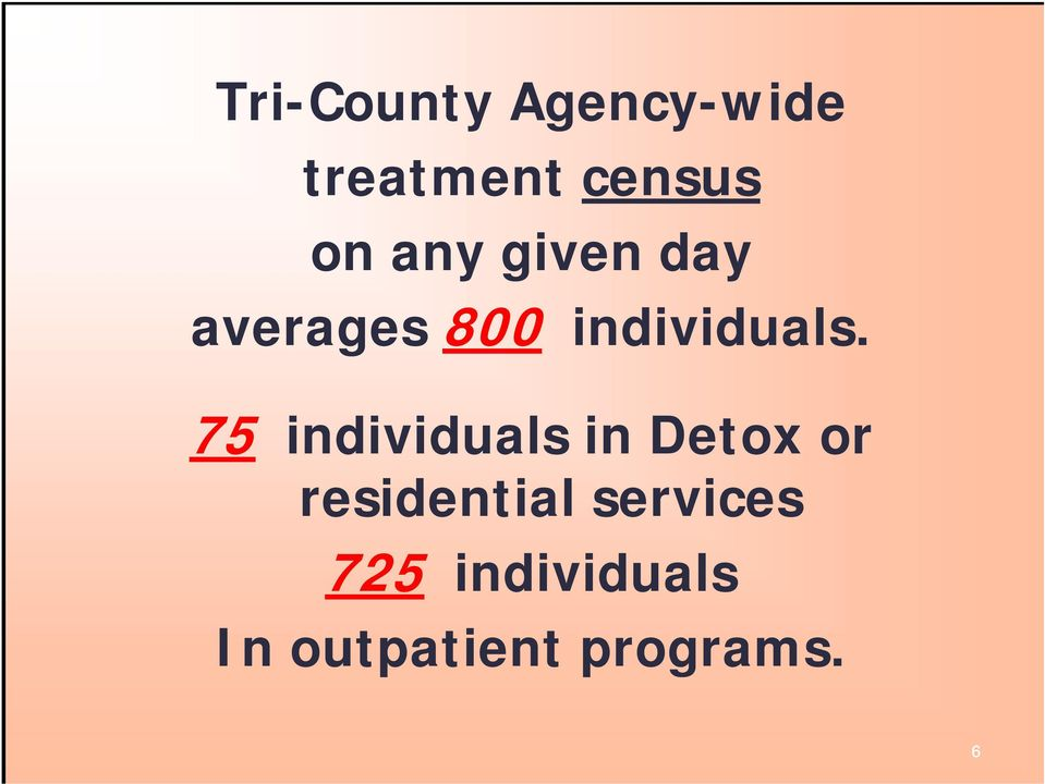 75 individuals in Detox or residential
