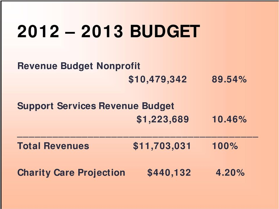 54% Support Services Revenue Budget