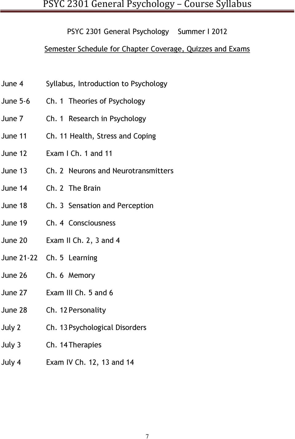 1 and 11 June 13 June 14 June 18 June 19 Ch. 2 Neurons and Neurotransmitters Ch. 2 The Brain Ch. 3 Sensation and Perception Ch. 4 Consciousness June 20 Exam II Ch.