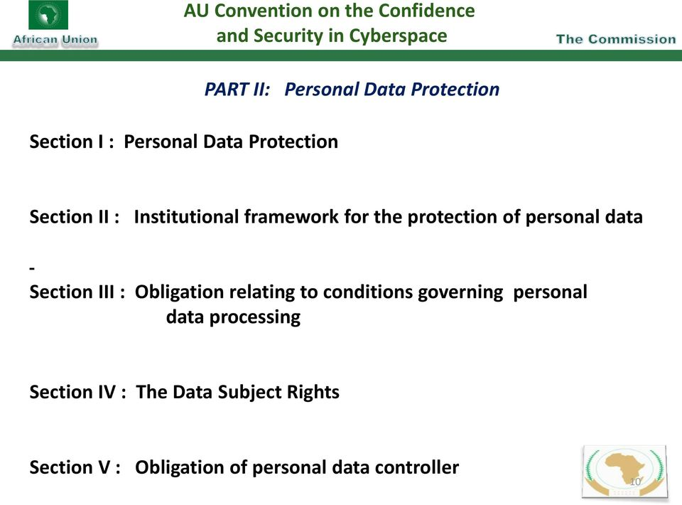protection of personal data Section III : Obligation relating to conditions governing