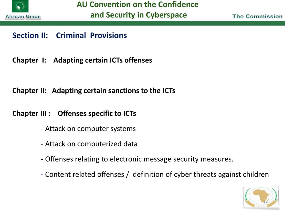 specific to ICTs - Attack on computer systems - Attack on computerized data - Offenses relating to