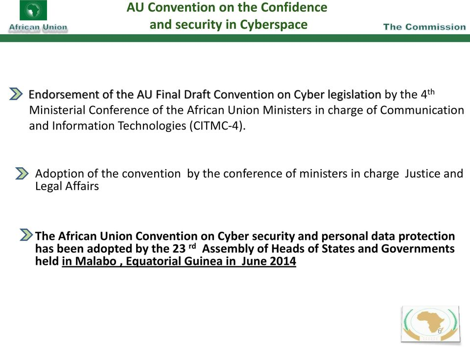 Adoption of the convention by the conference of ministers in charge Justice and Legal Affairs The African Union Convention on Cyber