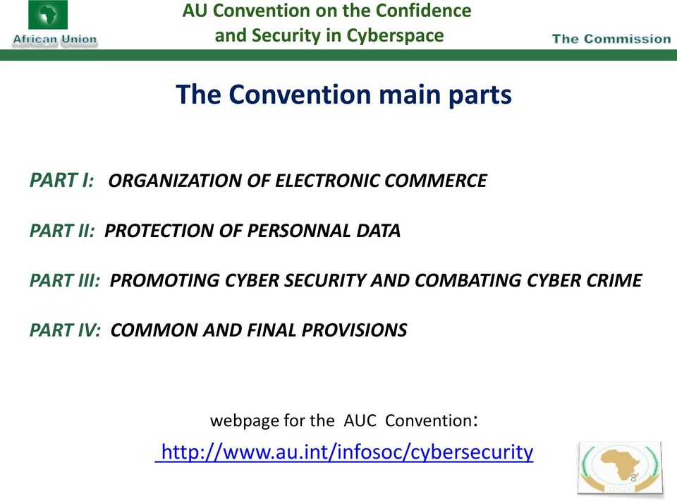 PART III: PROMOTING CYBER SECURITY AND COMBATING CYBER CRIME PART IV: COMMON AND