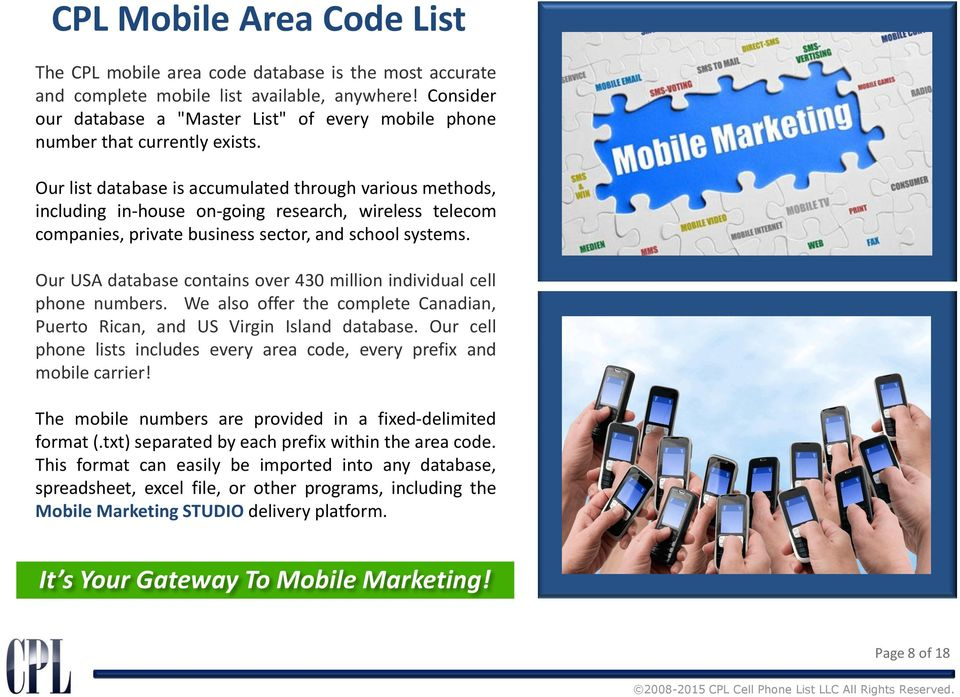 CPL Cell Phone List LLC All Rights Reserved  - PDF