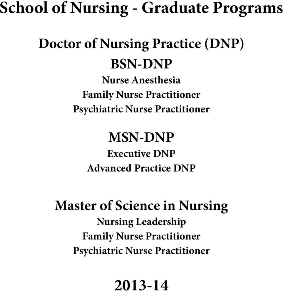 Practitioner MSN-DNP Executive DNP Advanced Practice DNP Master of Science in