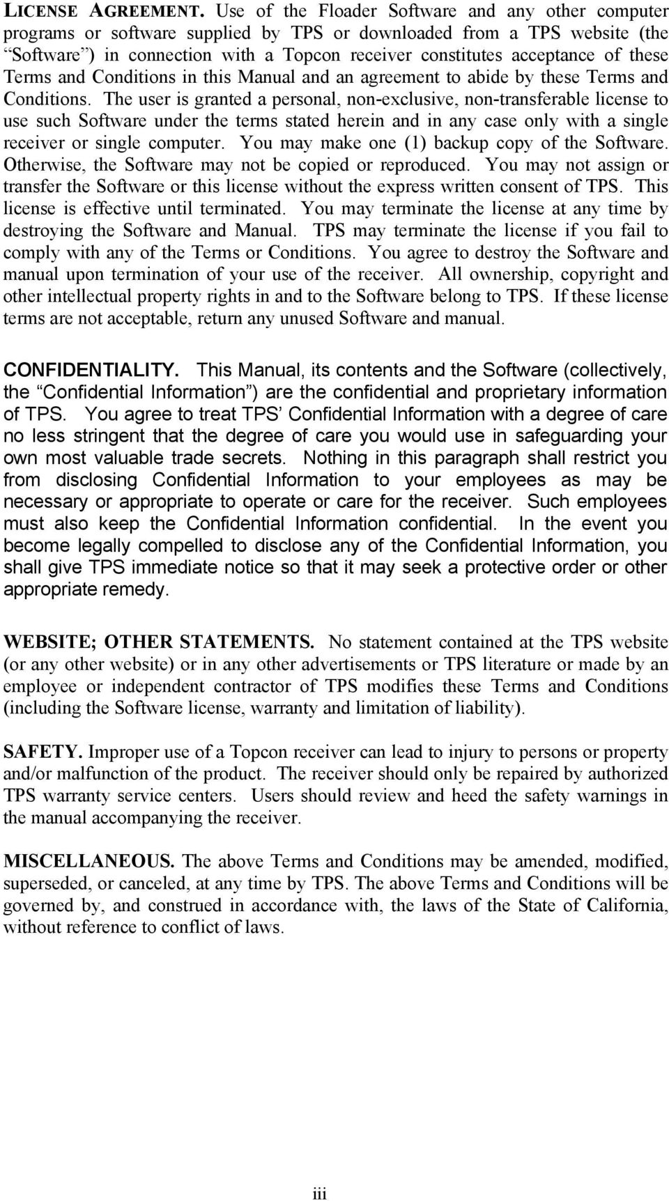 these Terms and Conditions in this Manual and an agreement to abide by these Terms and Conditions.