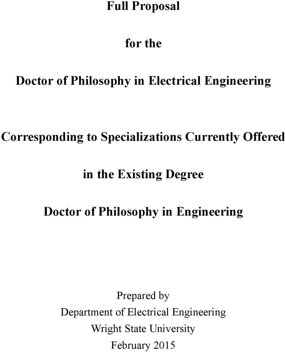 Full Proposal  for the  Doctor of Philosophy in Electrical
