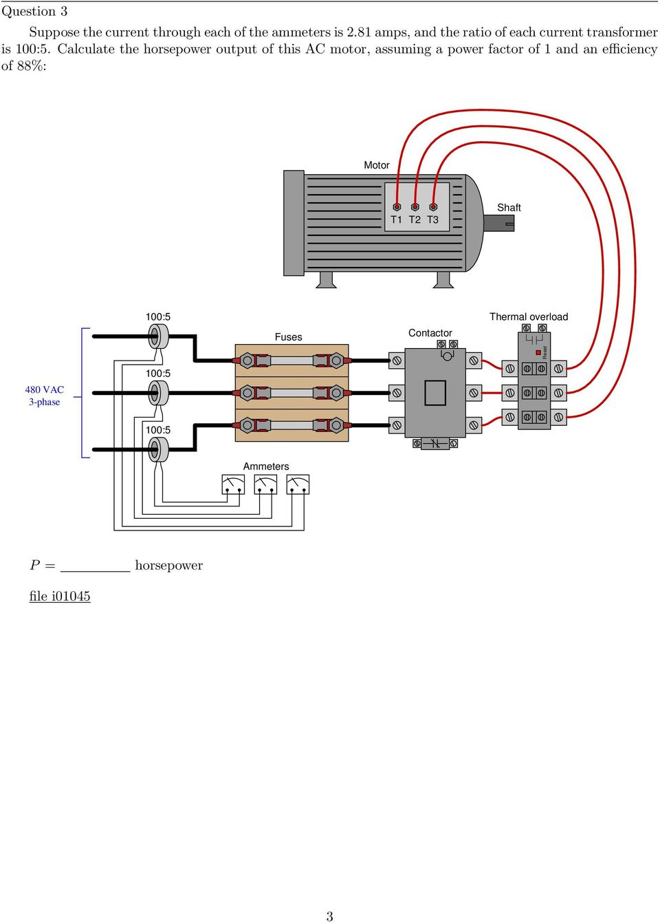 Three Phase Ac Circuits Pdf Ammeter Circuit Calculate The Horsepower Output Of This Motor Assuming A Power Factor 1 And