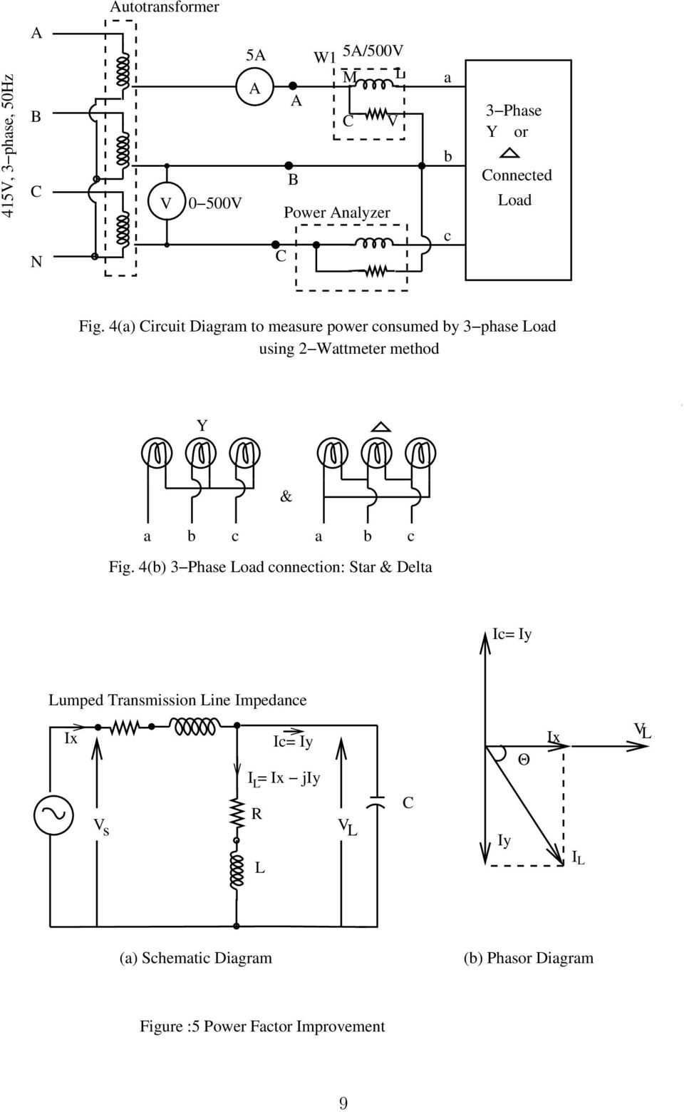 Power Measurement In Balanced 3 Phase Circuits And Factor Schematic Diagram Y Delta 4a Circuit To Measure Consumed By Load Using Wattmeter