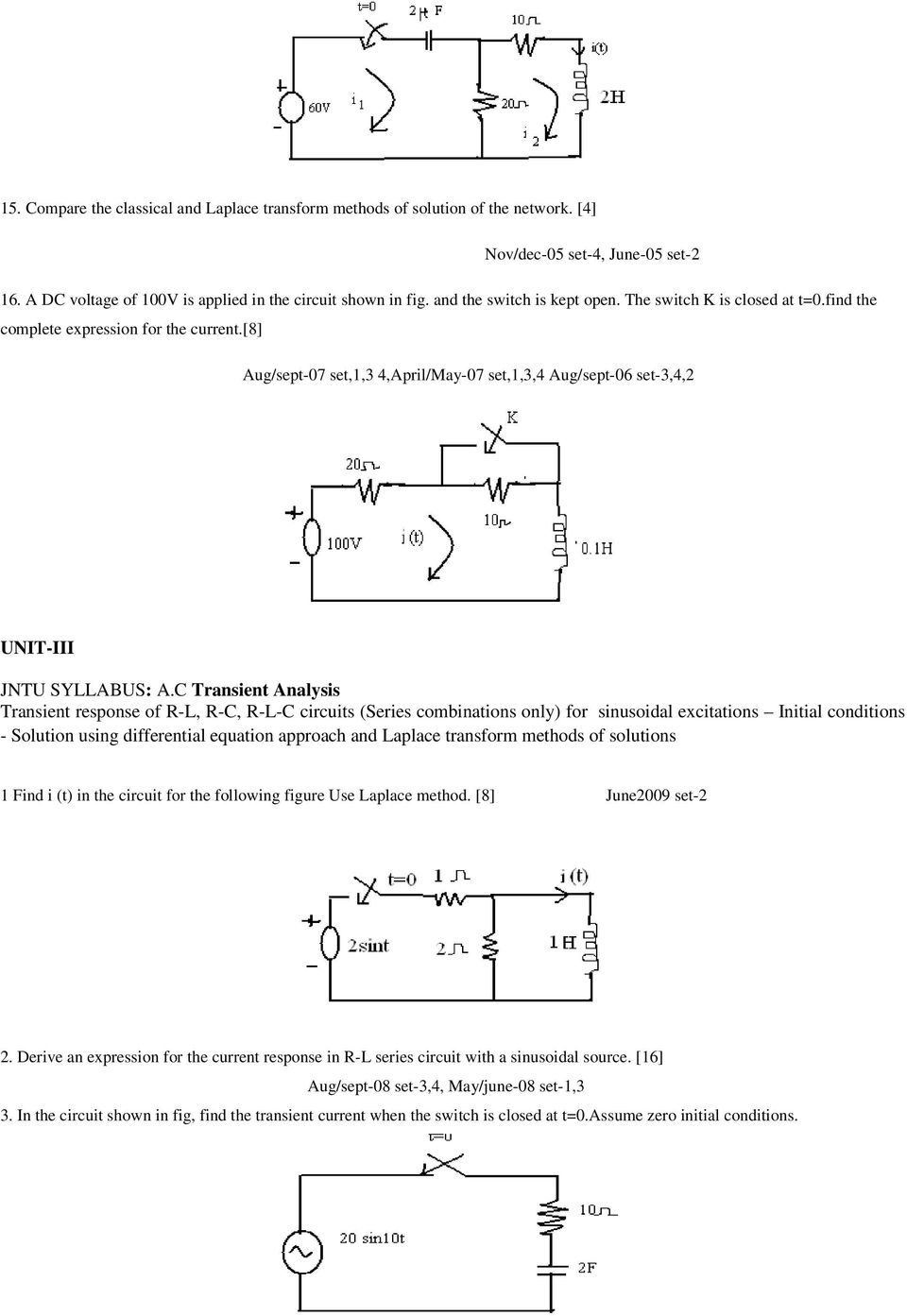Network Theory Question Bank Pdf Closed Series Circuit 8 Aug Sept 07 Set13 4april