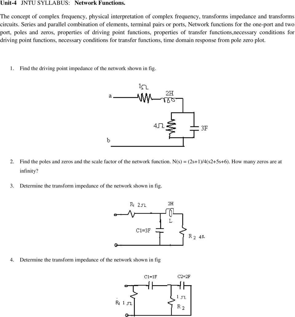 Network Theory Question Bank Pdf Electronic Circuit Analysis Jntu Notes Functionsnecessary Conditions For Driving Point Functions Necessary Transfer Time