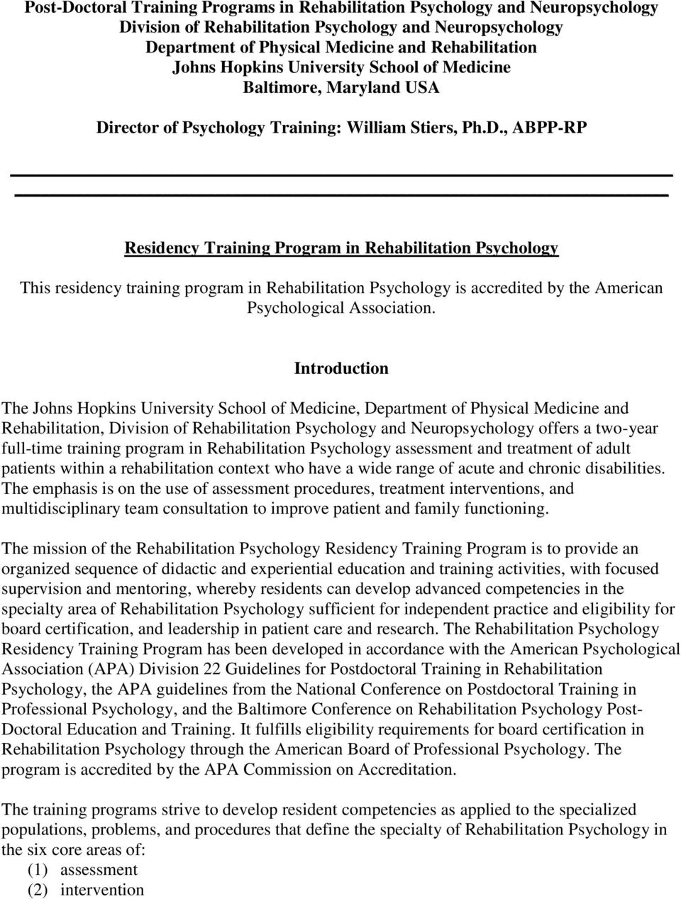 rector of Psychology Training: William Stiers, Ph.D.