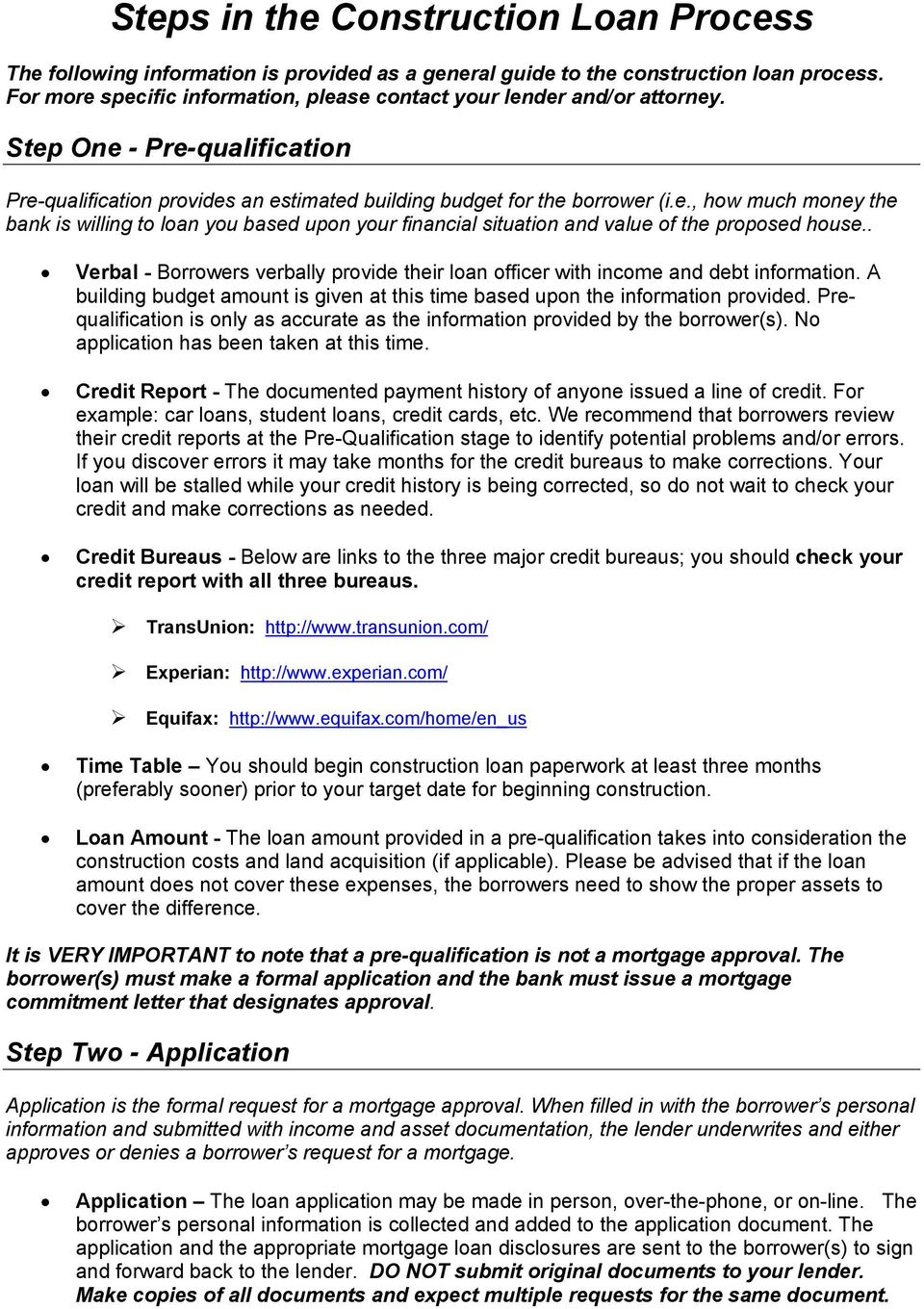 Steps in the construction loan process pdf verbal borrowers verbally provide their loan officer with income and debt information a altavistaventures Images