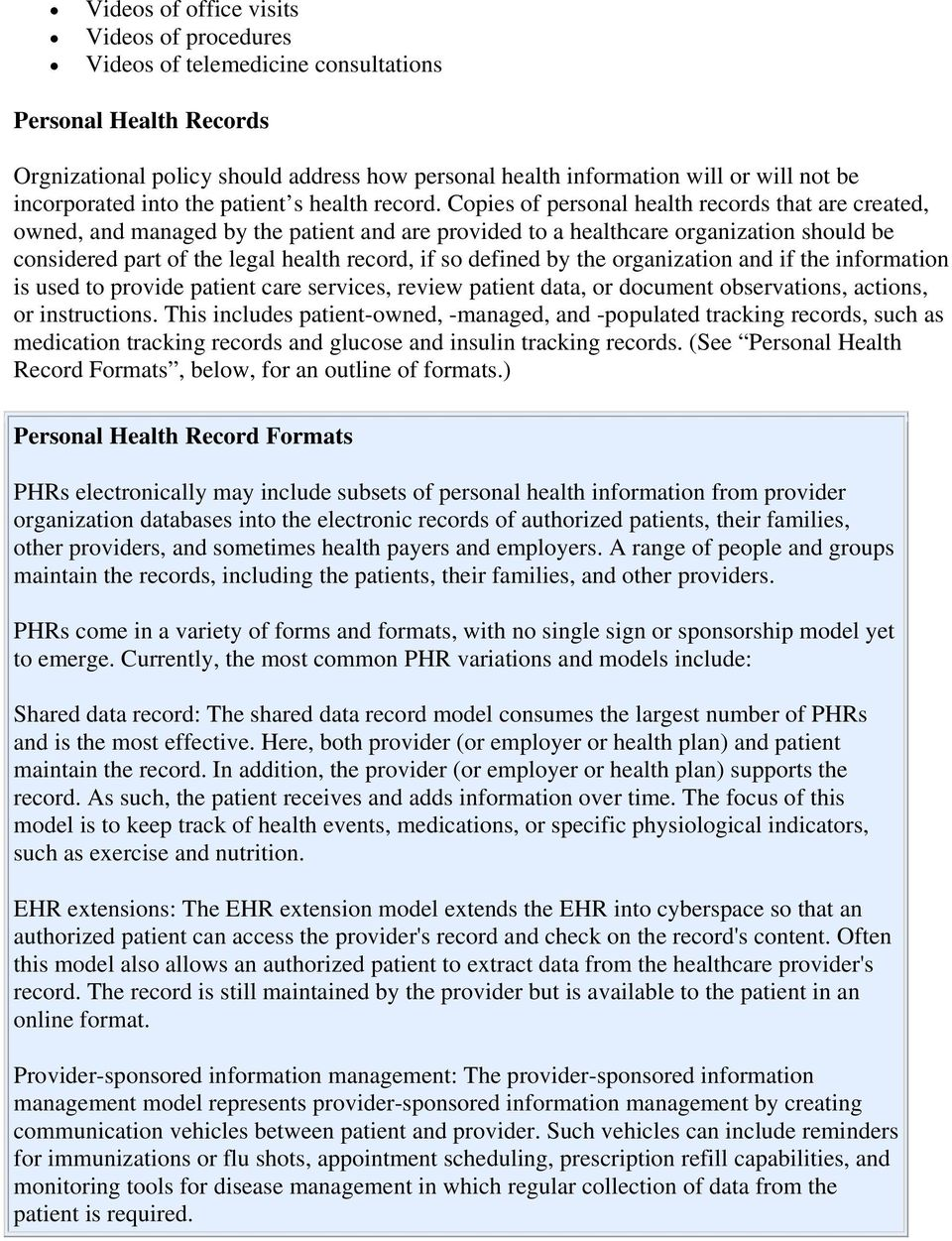 guidelines for defining the legal health record for disclosure