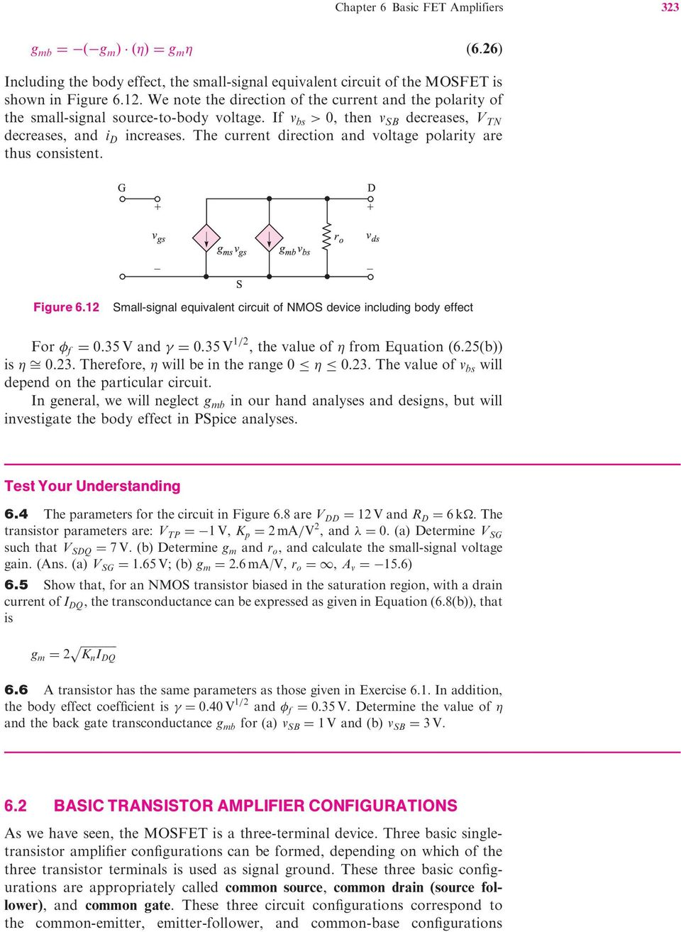 Basic Fet Ampli Ers 60 Preview 61 The Mosfet Amplifier Pdf Simple Transistor Preamplifier Circuits Current Direction And Voltage Polarity Are Thus Consistent Figure 6