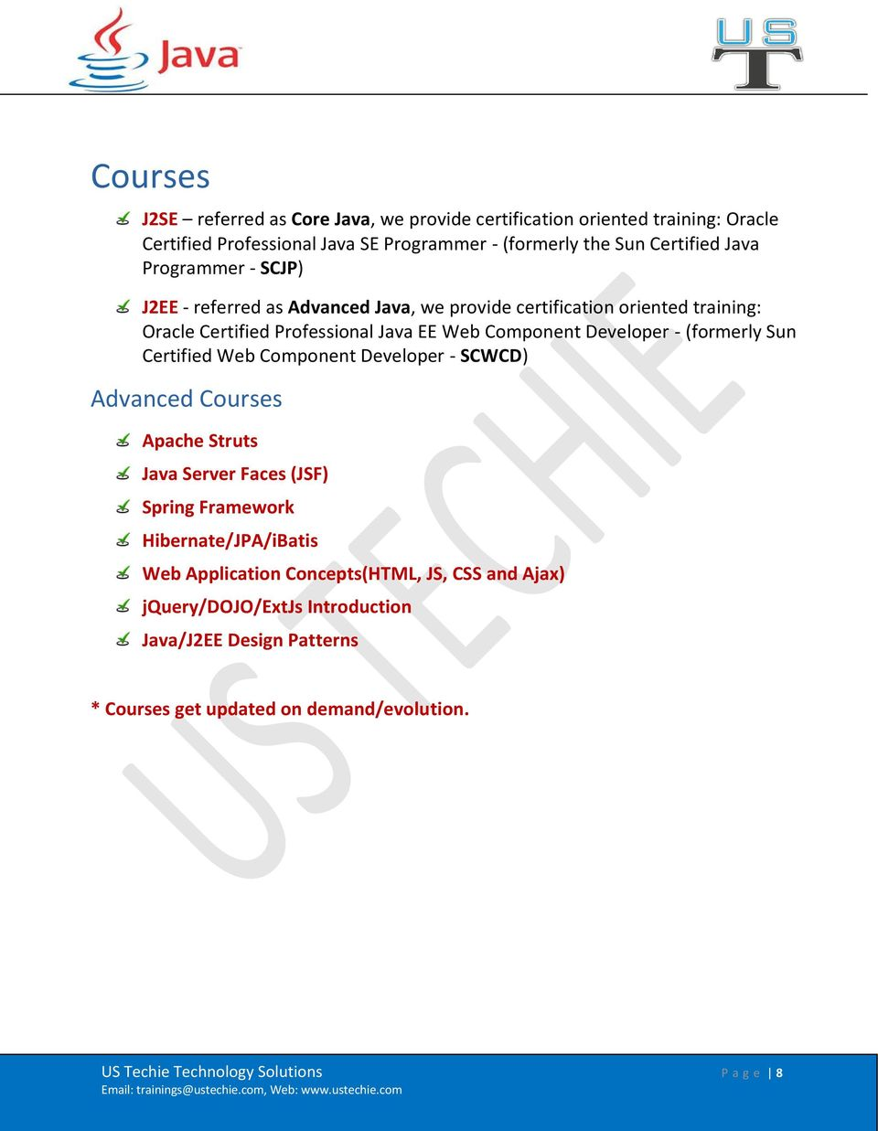 Java (J2SE & J2EE) and Web Development Training Catalog - PDF