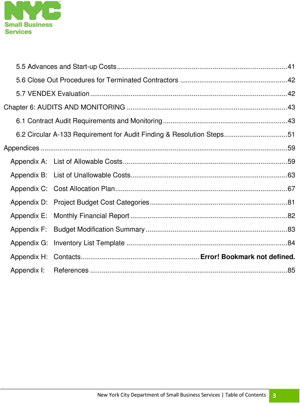 59 Appendix B List Of Unallowable Costs 63 C