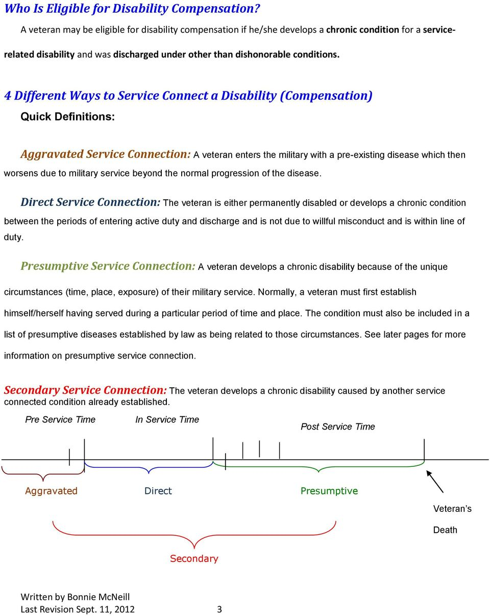 4 Different Ways to Service Connect a Disability (Compensation) Quick Definitions: Aggravated Service Connection: A veteran enters the military with a pre-existing disease which then worsens due to