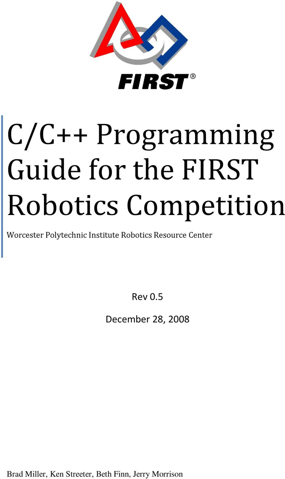 C/C++ Programming Guide for the FIRST Robotics Competition - PDF