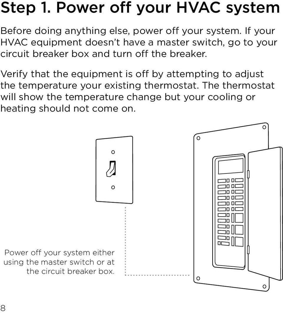 Technical Support Is Also Available By Or Phone North America Step 1 Turn Off Power At Circuit Breaker Verify That The Equipment Attempting To Adjust Temperature Your Existing Thermostat