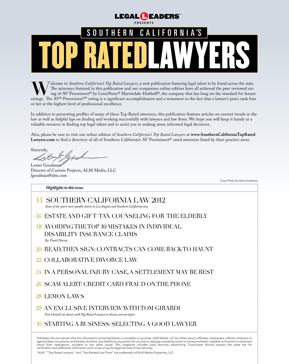 the standard for lawyer ratings.