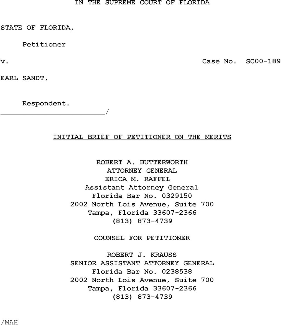 RAFFEL Assistant Attorney General Florida Bar No.