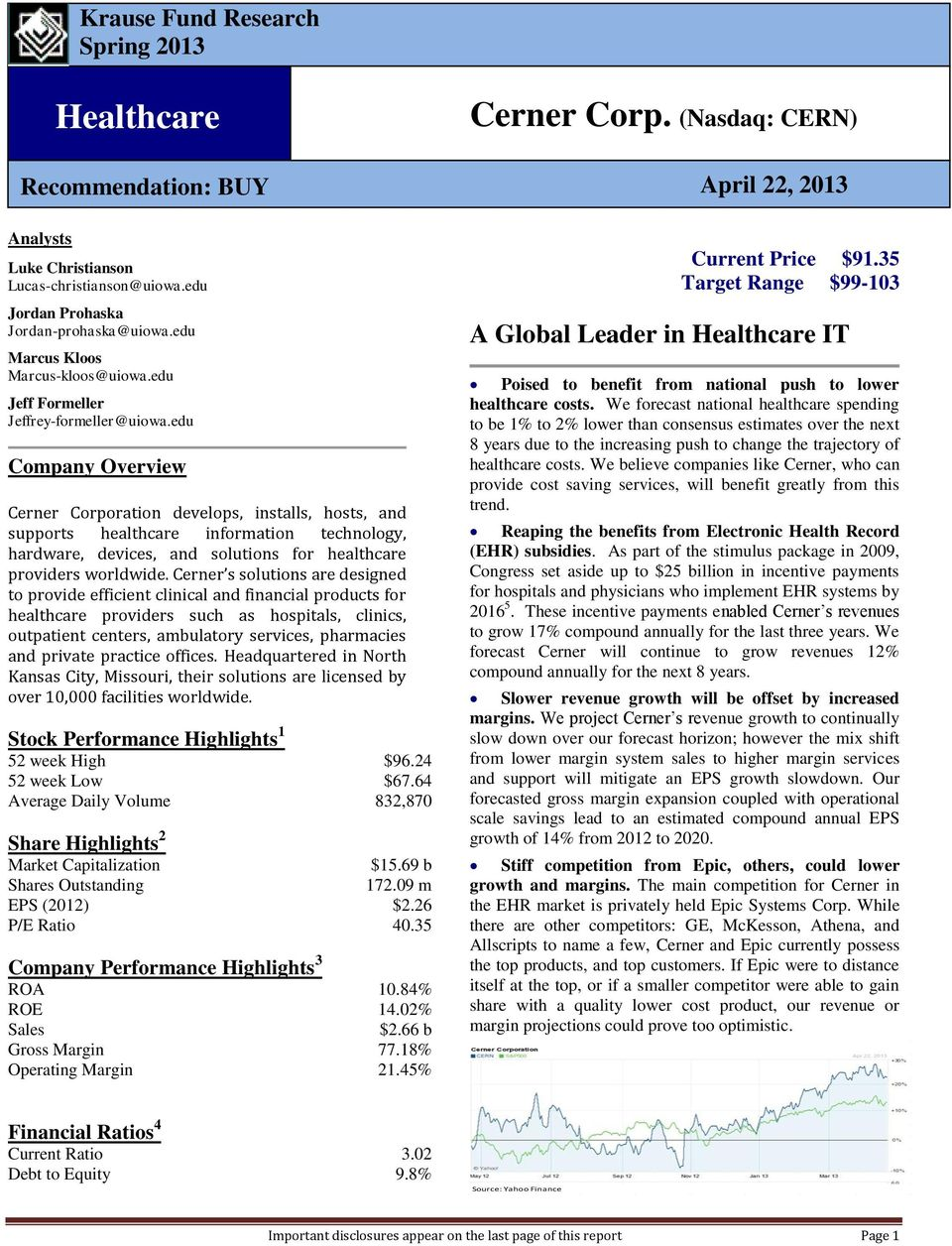 Cerner Corp  (Nasdaq: CERN) Healthcare  A Global Leader in